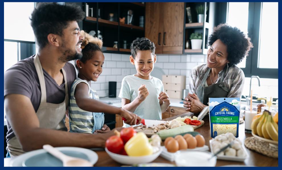 Image of family around kitchen table